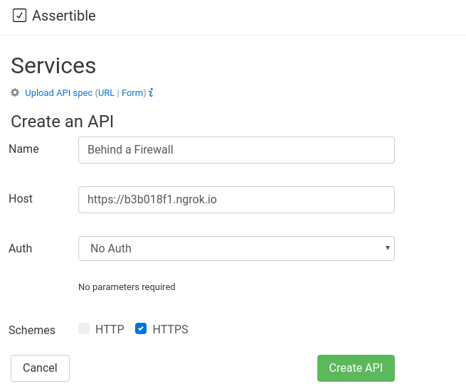 Create an API pointed at an ngrok url