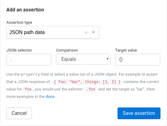 Assertible dashboard JSON path data assertion