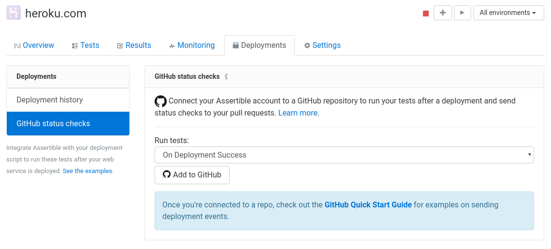Assertible dashboard GitHub status checks deployments settings