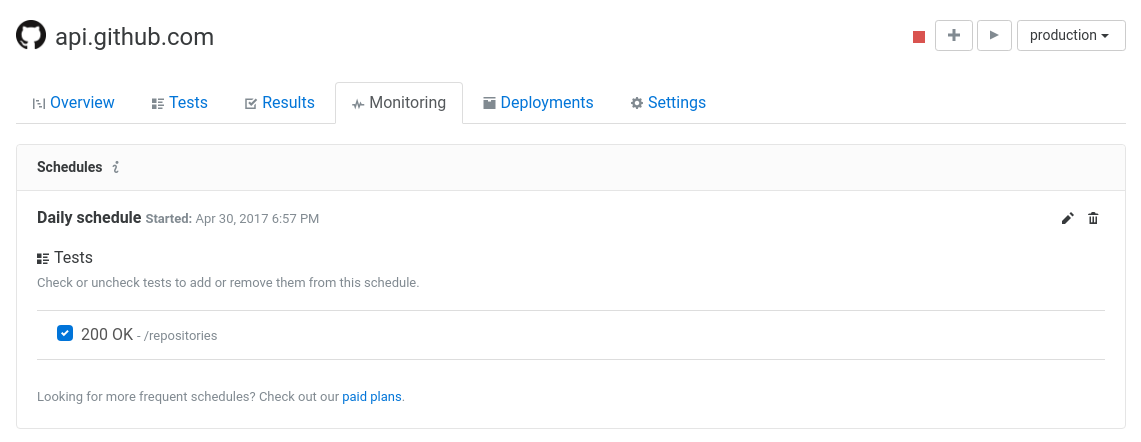 Assertible dashboard monitoring view GitHub API