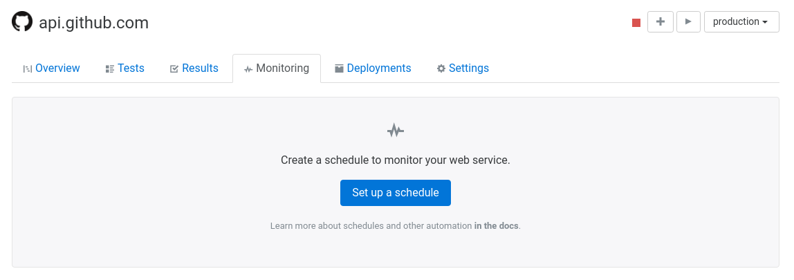 Assertible dashboard create new schedule