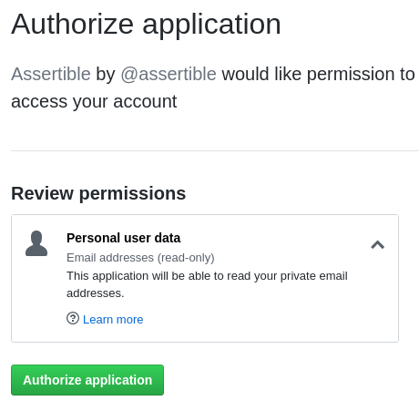 GitHub email required for Assertible login