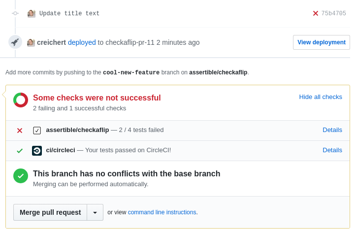 Failing GitHub PR, no Heroku deployment, no Assertible tests run