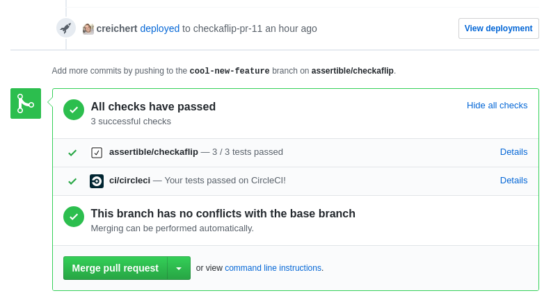 Assertible GitHub integration on a pull request