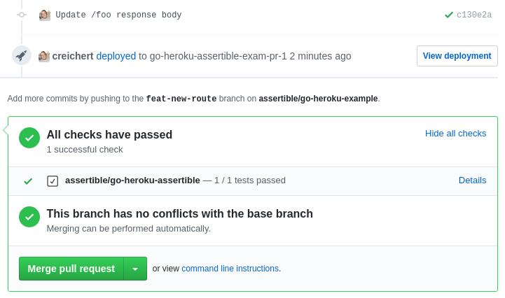 Assertible status check on GitHub pull request successful