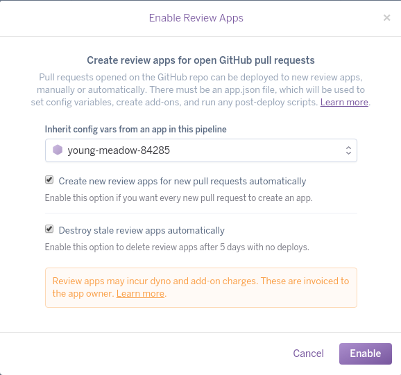Heroku enable Review Apps dialogue