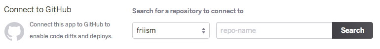 Heroku pipeline connect to github choose repository