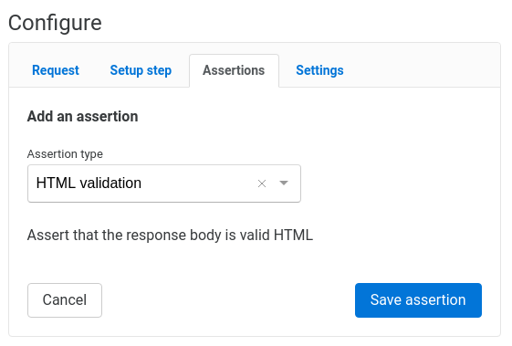 HTML validation assertion configuration