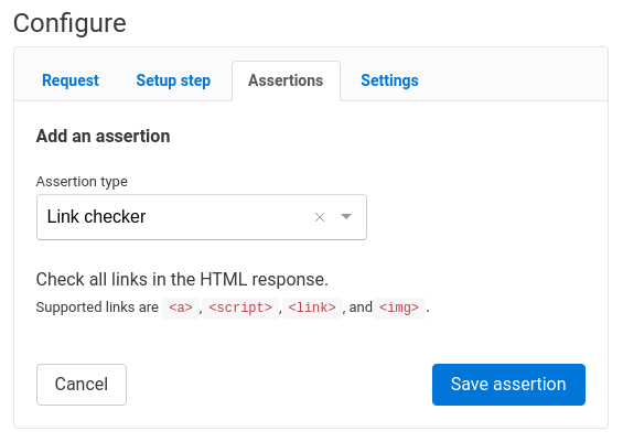 Link check assertion configuration