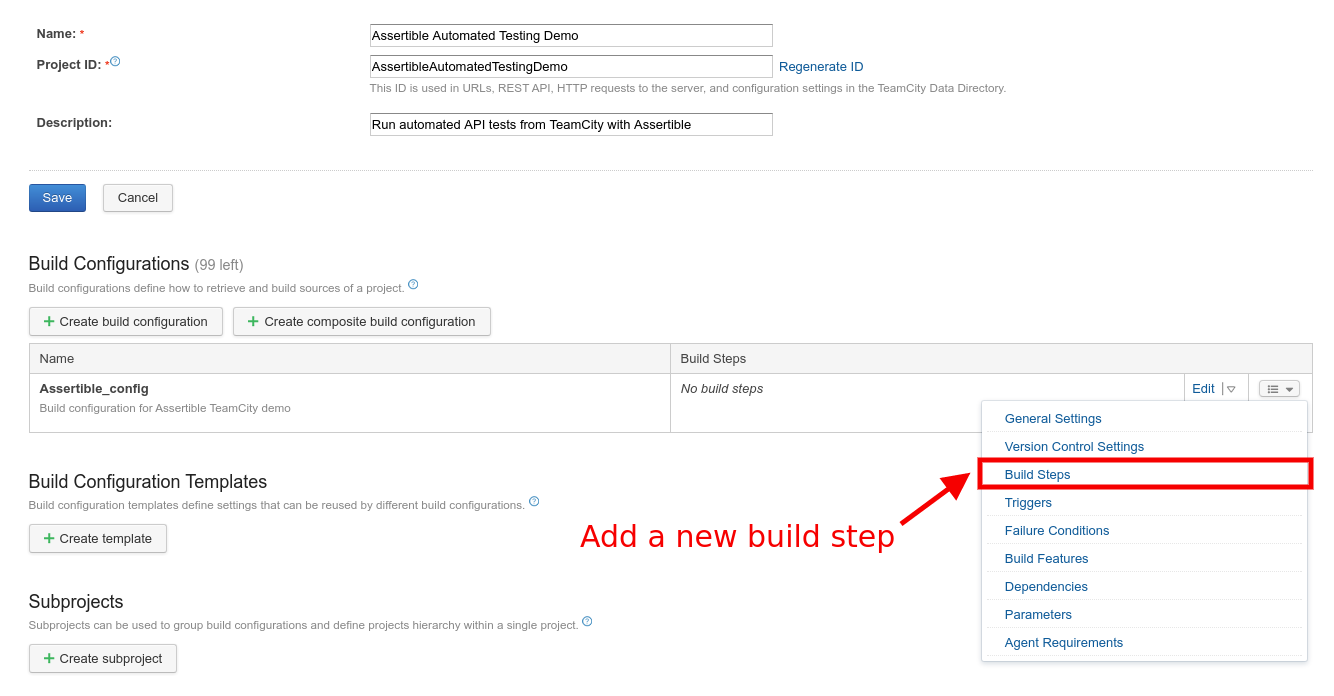 Create a new build step in TeamCity