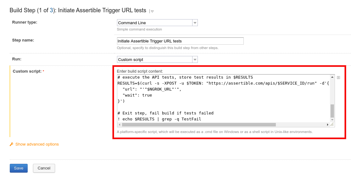 TeamCity build step with Assertible Trigger URL