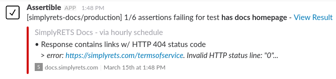 Assertible failing test result via seen in Slack