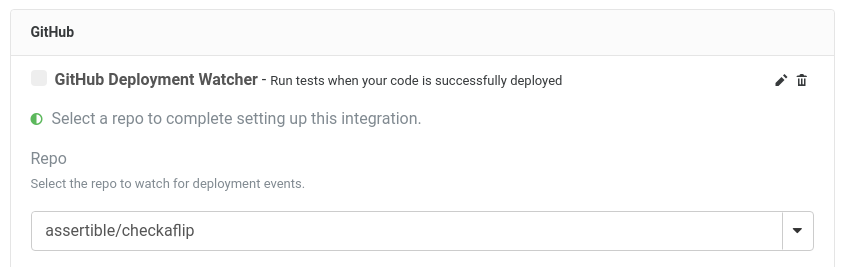 Assertible GitHub deployment integration setup