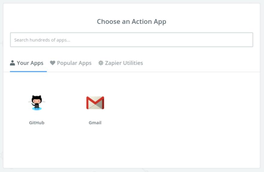 Zapier choose an action app