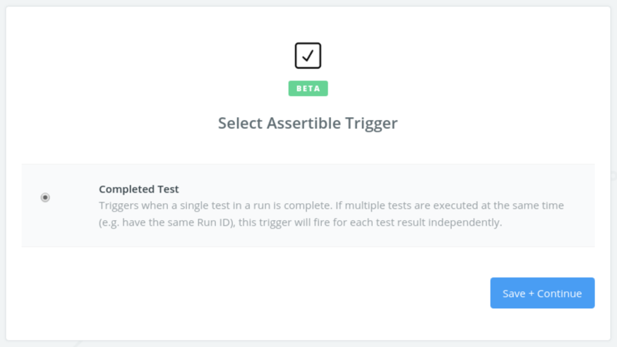 Select Assertible Trigger in Zapier form
