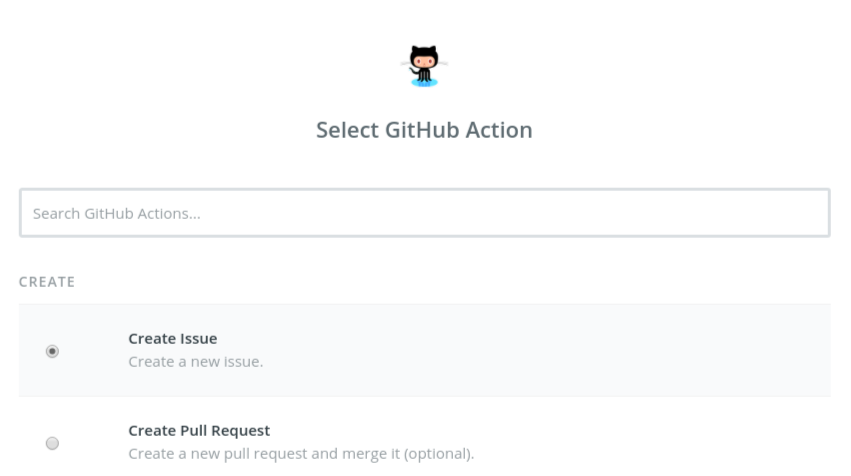 Zapier GitHub issue action