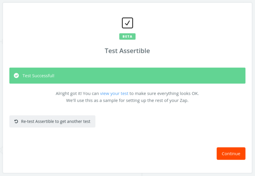 Test Assertile trigger in Zapier