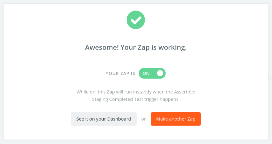 Turn on a new Zap in Zapier