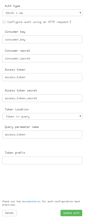 OAuth 1.0a form