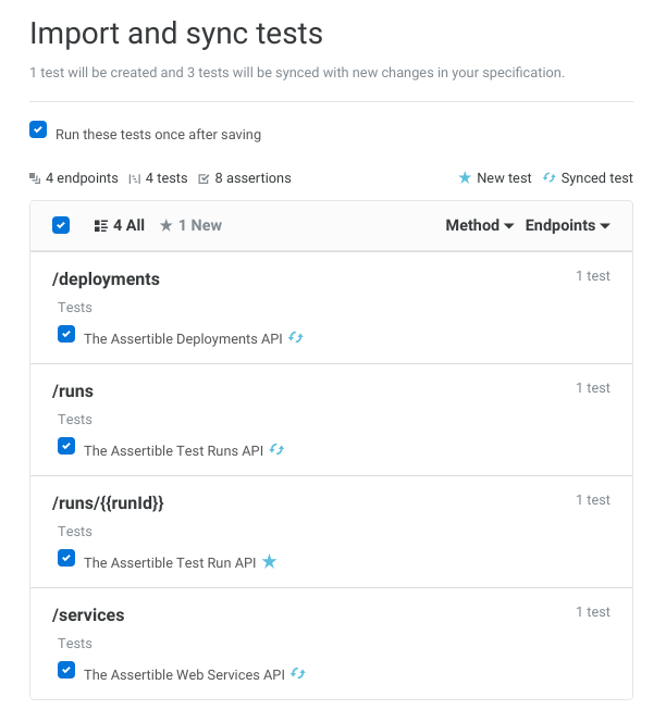 Sync API tests with your specification
