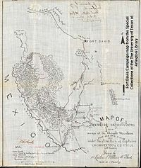 A photo of a black and white hand drawn map from 1880 showing Fort Davis and the Chinati Mountains used during military campaigns against the Apache Indians led by Victorio