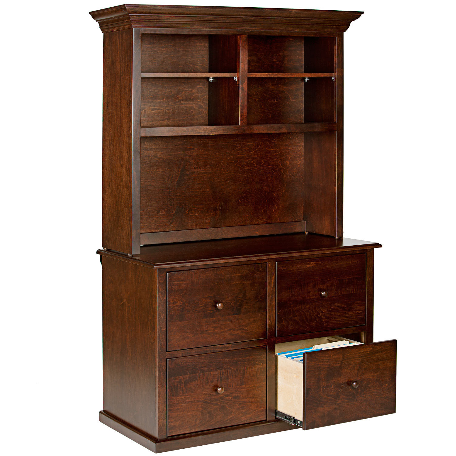 Traditional Hutch for 4 Drawer Lateral File Cabinet ...