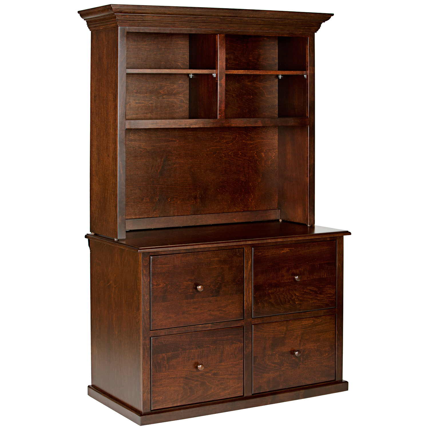 Traditional Hutch For 4 Drawer Lateral File Cabinet