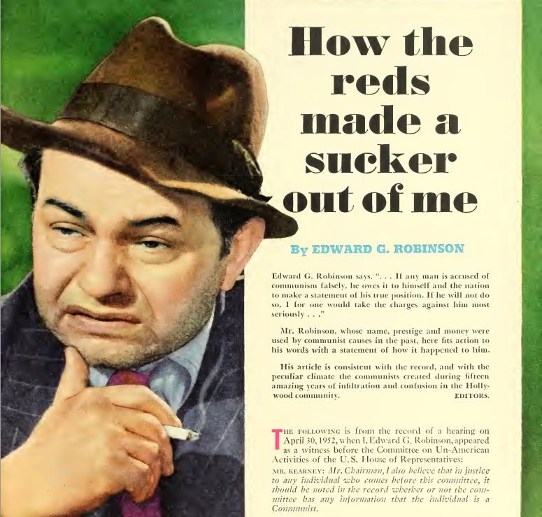 Edward G. Robinson's article in The American Legion Magazine which decried his involvement in communism.