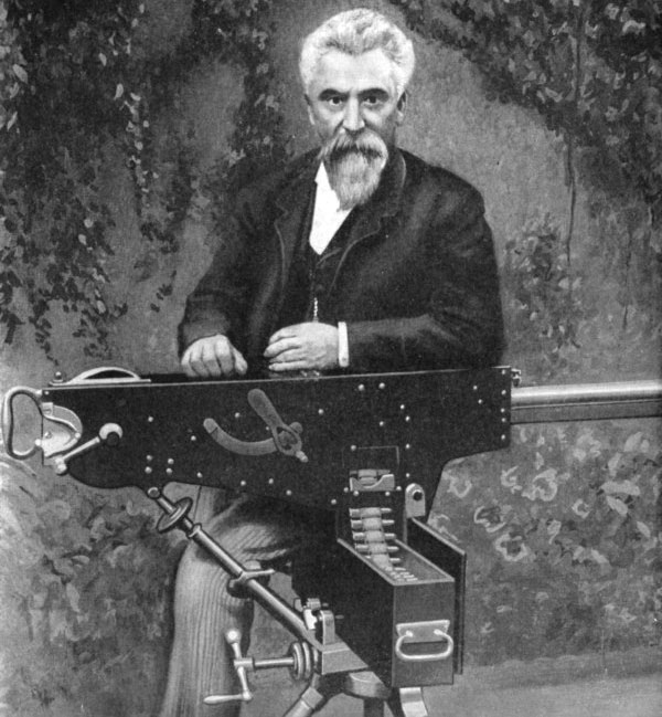 Hiram Maxim and his gun