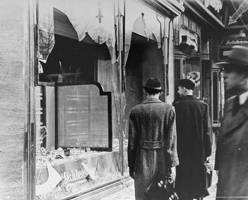 The aftermath of Kristallnacht