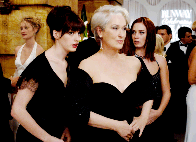 Anne Hathaway, Meryl Streep, and Emily Blunt in The Devil Wears Prada