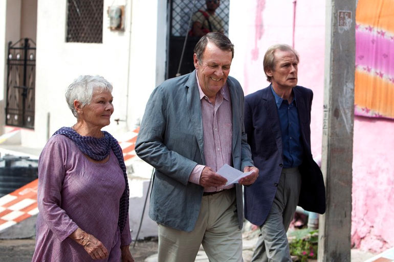 Dame Judi Dench, Tom Wilkinson, and Bill Nighy in The Best Exotic Marigold Hotel
