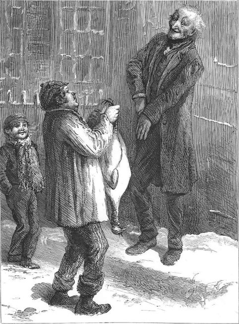 Sol Eytinge's illustration of the prize turkey for the 1869 American edition of A Christmas Carol.