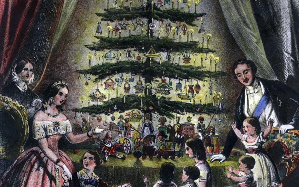 Queen Victoria and Price Albert around the Christmas tree
