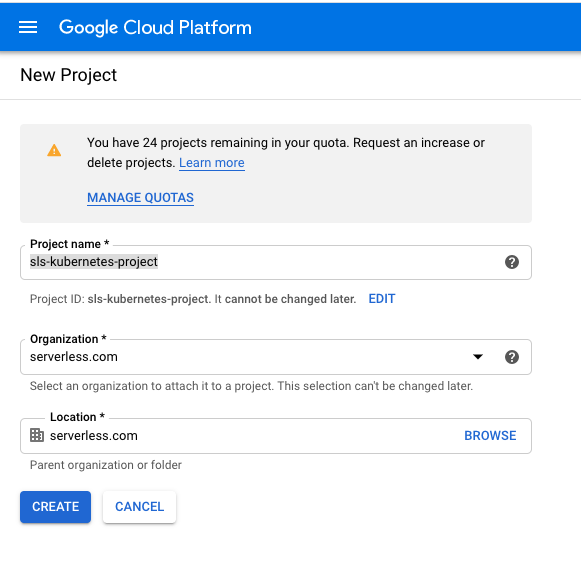 Screenshot of Google Cloud Project UI
