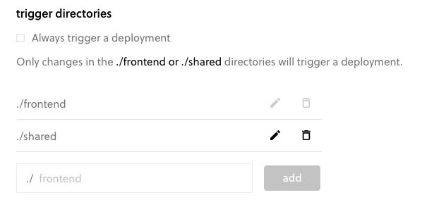 Mono repo trigger directories