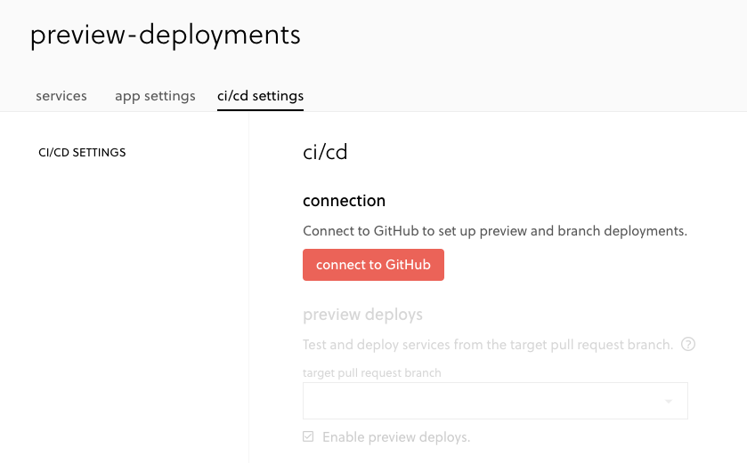 Screenshot of connecting GitHub