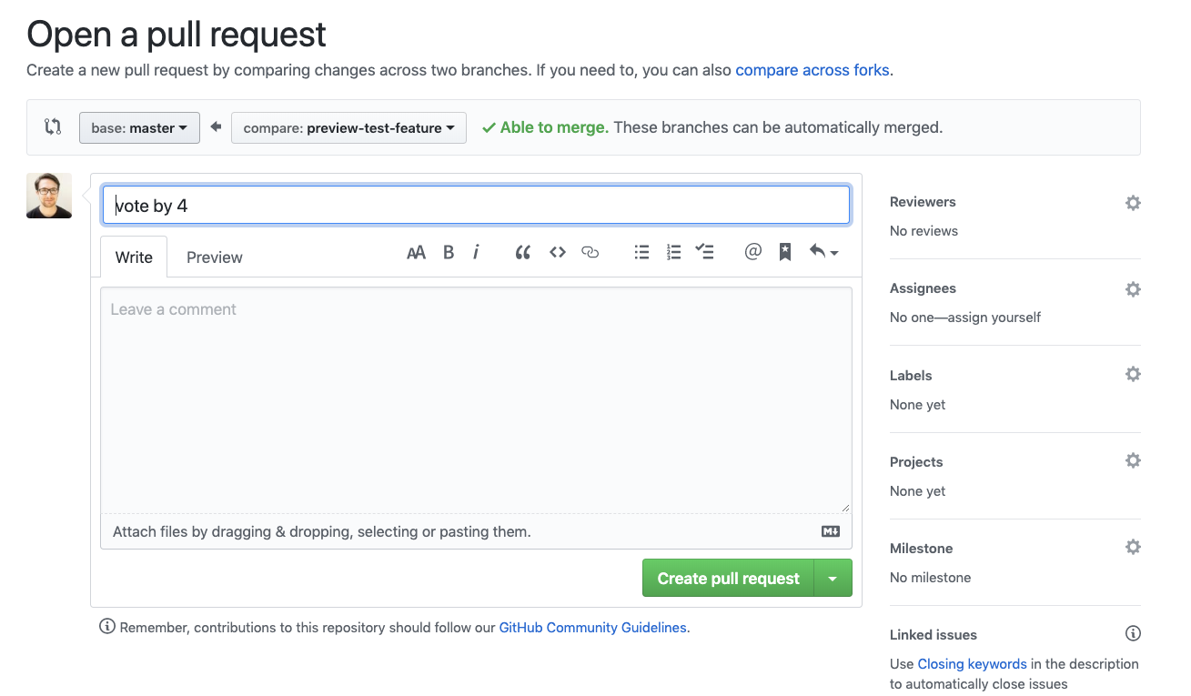 Screenshot of pull request creation page