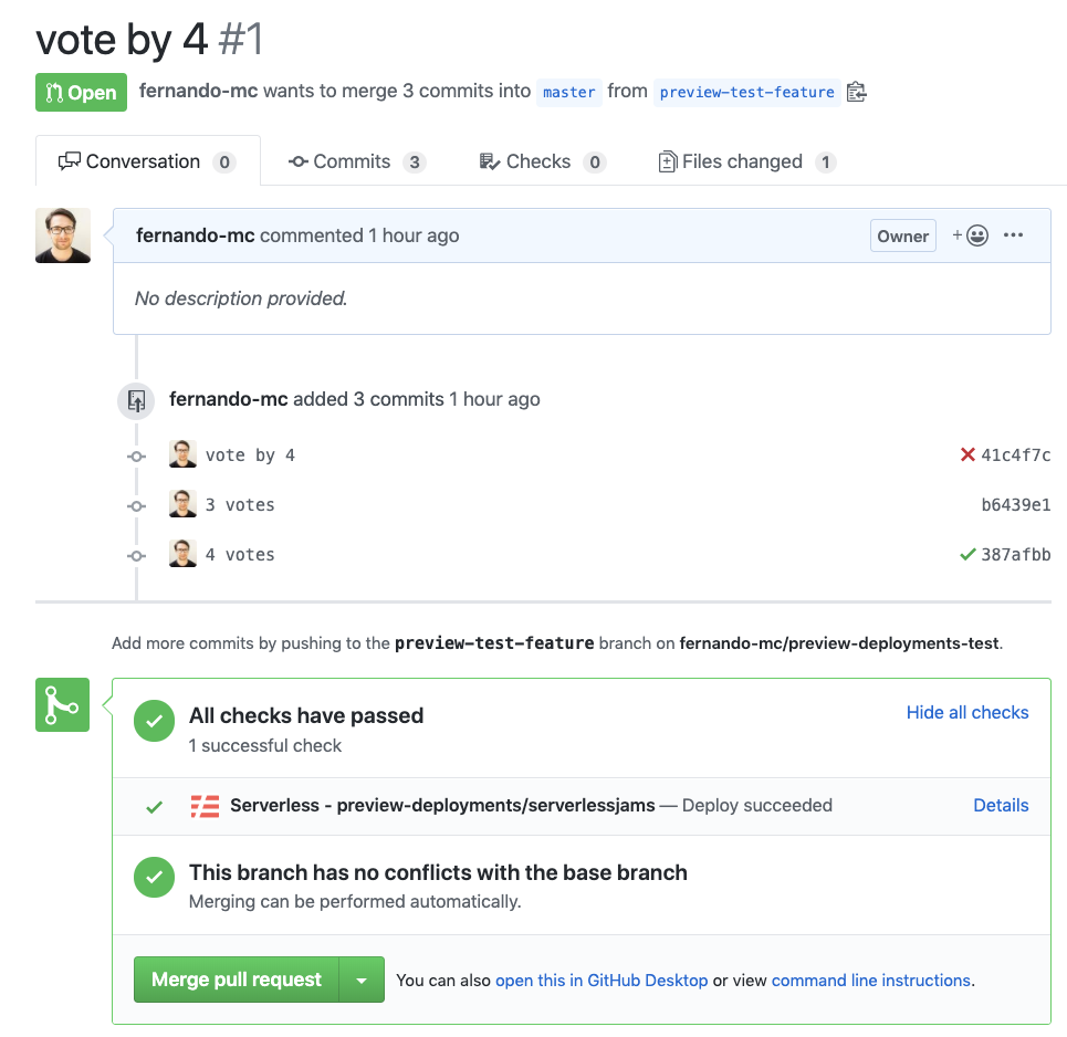 Screenshot of successful preview deployment in GitHub