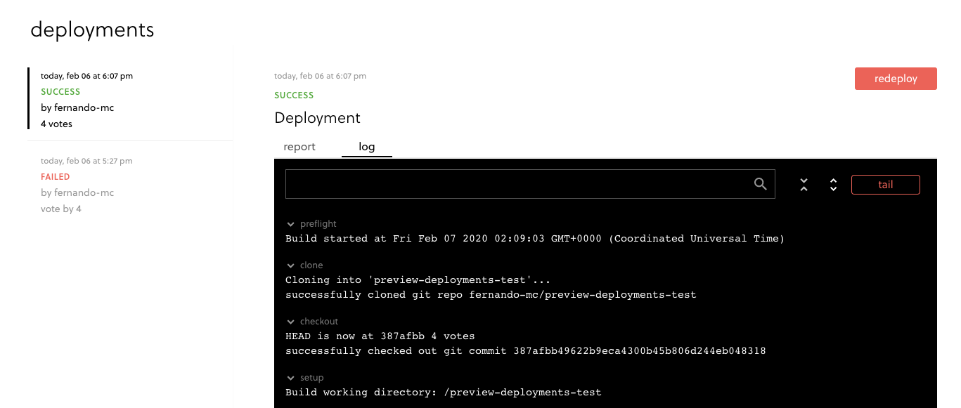 Screenshot of successful deployment log in Framework Pro
