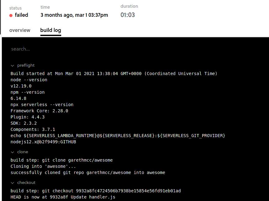 Screenshot of a failed build log in Framework Pro