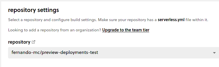 Screenshot of connecting the repo in the Framework Pro dashboard