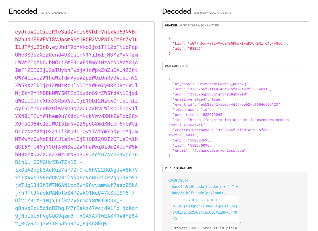 Decoding the JWT in jwt.io