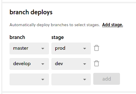 Branch deploys with prod and dev