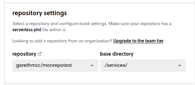 Select repo and base directory