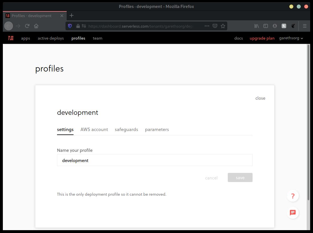 Development Profile Saved