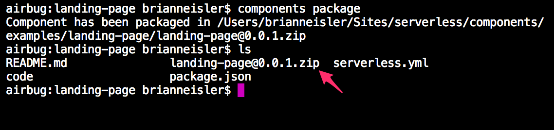 component package command