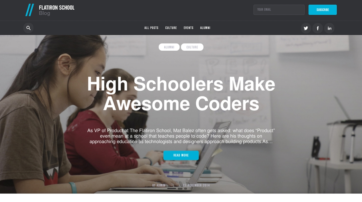 WordPress site build for FlatIron Dev School