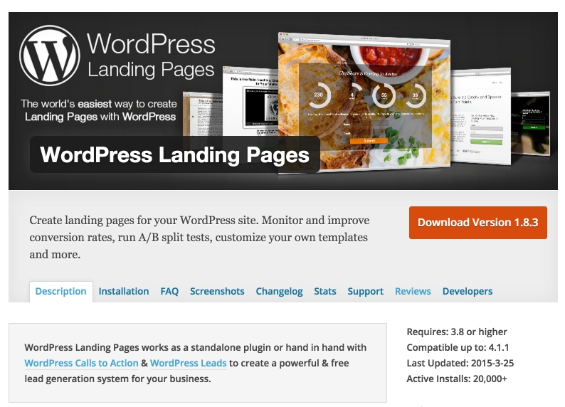 Create landing pages for your WordPress site. Monitor and improve conversion rates, & run A/B split tests.