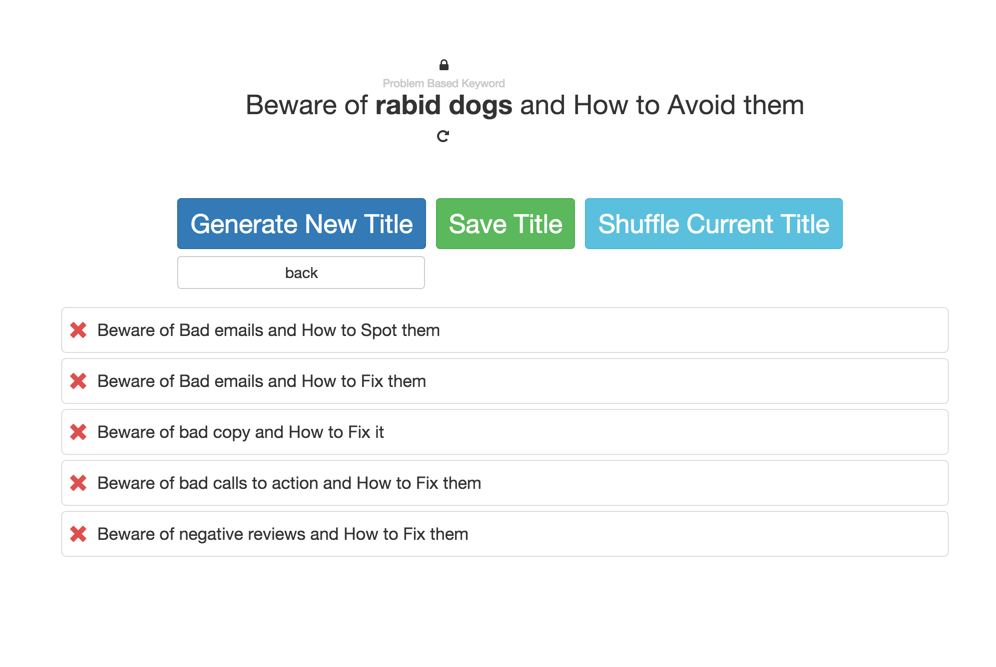 Blog post title generator, to get ideas flowing